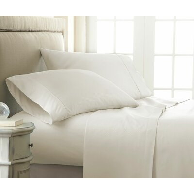 Crystal Double-Brushed Checkered Sheet Set Size: King, Color: Ivory