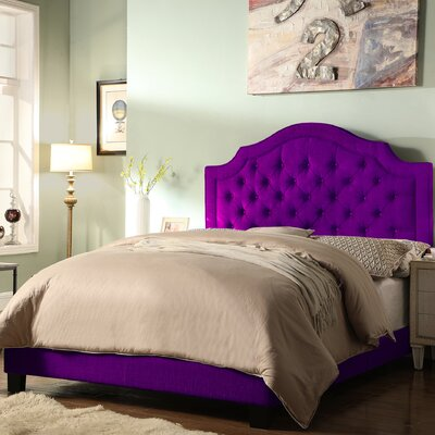 Julia Upholstered Panel Bed Size: Twin, Color: Purple