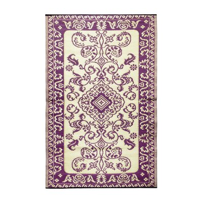 Classic Violet & Ivory Outdoor Area Rug Rug Size: 4 x 6