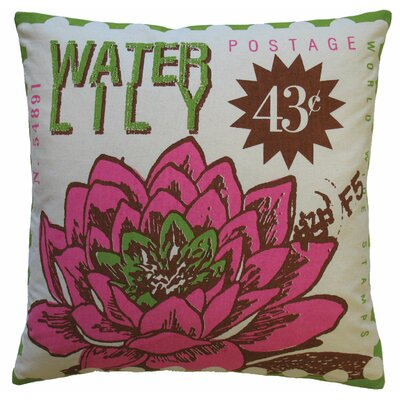Postage Waterlily Print Cotton Throw Pillow