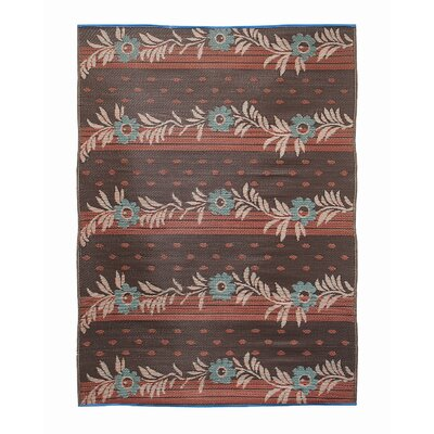 Vines Flowers Kitchen Mat Color: Orange Brown / Cream
