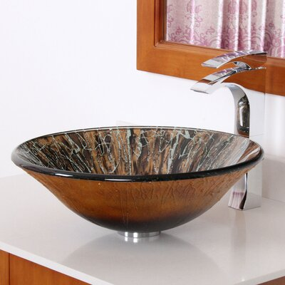 Handcrafted Glass Fanfare Bowl Circular Vessel Bathroom Sink Drain Finish: Chrome