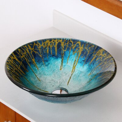 Enchantment Hand Painted Glass Bowl Circular Vessel Bathroom Sink Faucet Finish: Brushed Nickel