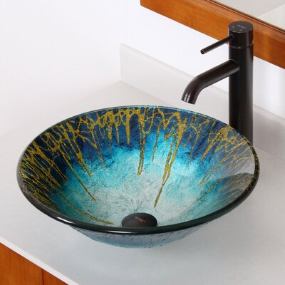 Enchantment Glass Circular Vessel Bathroom Sink with Faucet Faucet Finish: Oil Rubbed Bronze