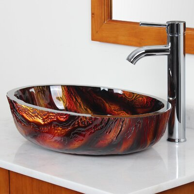 Marble Hot Melted Rock Pattern Glass Oval Vessel Bathroom Sink Drain Finish: Chrome