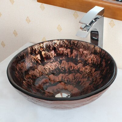 Slow Cascade Lava Melted Glass Bowl Circular Vessel Bathroom Sink Drain Finish: Chrome