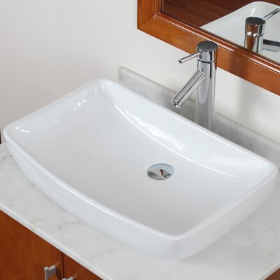 Grade A Ceramic Finsbury Shaped Bowl Vessel Bathroom Sink Drain Finish: Brushed Nickel