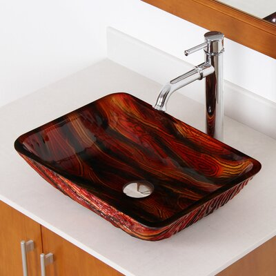 Hot Melted Contrasting Hand Painted Rectangular Vessel Bathroom Sink Drain Finish: Chrome