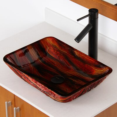 Hot Melted Contrasting Stained Wood Hand Painted Rectangular Vessel Bathroom Sink Drain Finish: Oil Rubbed Bronze