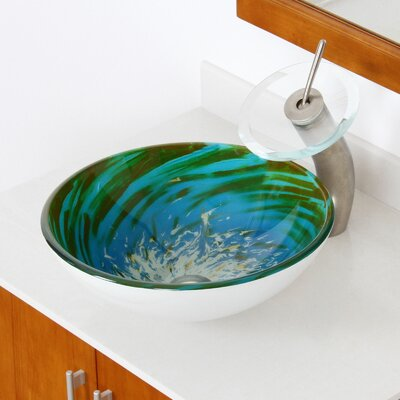 Whirlpool Splash Hand Painted Bowl Circular Vessel Bathroom Sink Drain Finish: Brushed Nickel
