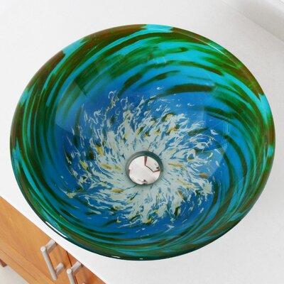 Whirlpool Splash Hand Painted Bowl Circular Vessel Bathroom Sink Drain Finish: Chrome