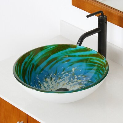 Whirlpool Splash Hand Painted Bowl Circular Vessel Bathroom Sink Drain Finish: Oil Rubbed Bronze