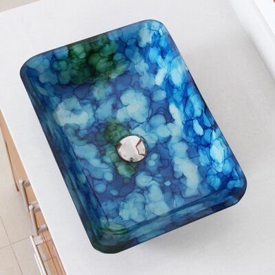 Hand Painted Watercolor Flat Bottom Glass Circular Vessel Bathroom Sink Drain Finish: Chrome