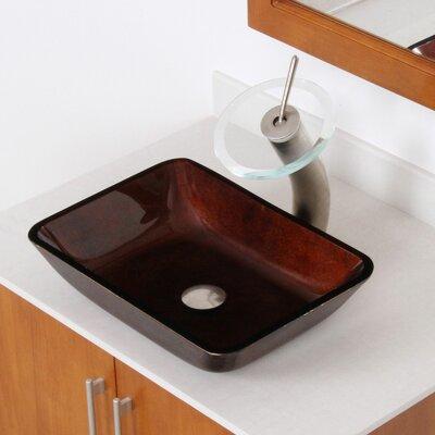 Hand Painted Glass Rectangular Vessel Bathroom Sink Sink Finish: Dark Copper