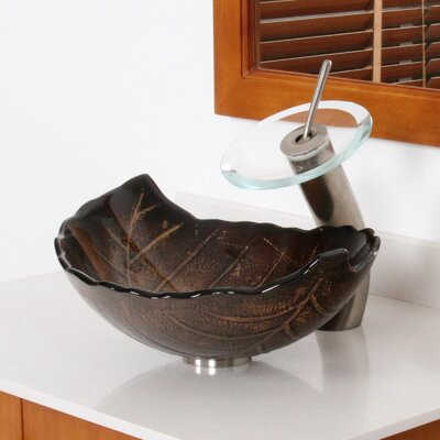 Hot Melted and Hand Painted Autumn Leaf Shaped Bow Specialtyl Vessel Bathroom Sink Drain Finish: Brushed Nickel