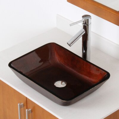 Hand Painted Foil Flat Bottom Rectangular Vessel Bathroom Sink Sink Finish: Dark Copper