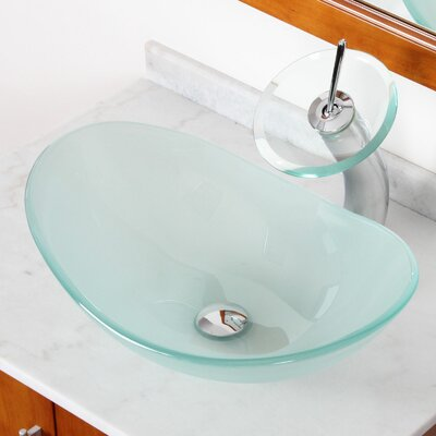 Double Layered Tempered Glass U-Shaped Vessel Bathroom Sink Drain Finish: Chrome
