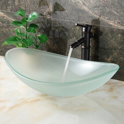 Double Layered Tempered Glass Boat U-Shaped Vessel Bathroom Sink Drain Finish: Oil Rubbed Bronze