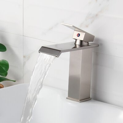 Single Handle Bathroom Waterfall Faucet Finish: Brushed Nickel