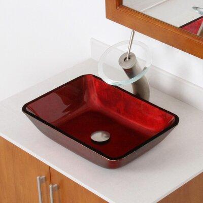 Hand Painted Velvet Glass Rectangular Vessel Bathroom Sink Drain Finish: Brushed Nickel