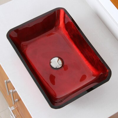 Hand Painted Velvet Rectangular Vessel Bathroom Sink Drain Finish: Chrome