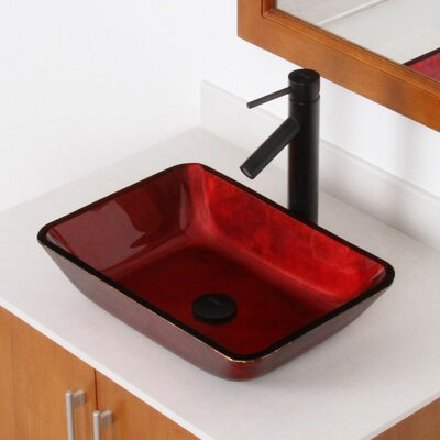 Hand Painted Velvet Glass Rectangular Vessel Bathroom Sink Drain Finish: Oil Rubbed Bronze
