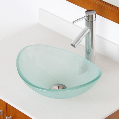 Mini Tempered Glass Boat Oval Vessel Bathroom Sink Sink Finish: Frosted, Drain Finish: Chrome