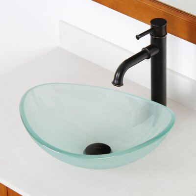 Mini Tempered Glass Boat Oval Vessel Bathroom Sink Sink Finish: Frosted, Drain Finish: Oil Rubbed Bronze