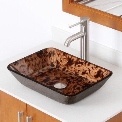 Abstract Tortoiseshell Hand Painted Flat Bottom Rectangular Vessel Bathroom Sink Drain Finish: Brushed Nickel