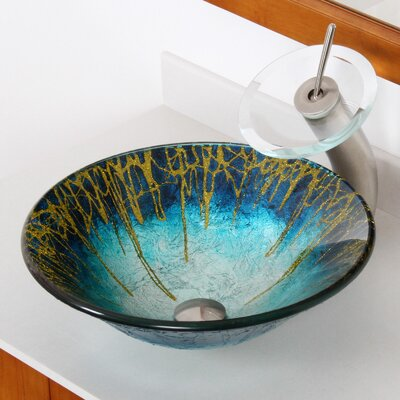 Enchantment Handcrafted Glass Fanfare Bowl Circular Vessel Bathroom Sink Drain Finish: Brushed Nickel