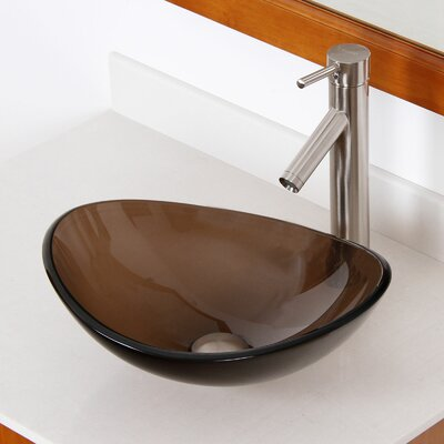 Tempered Glass Boat Oval Vessel Bathroom Sink Drain Finish: Brushed Nickel