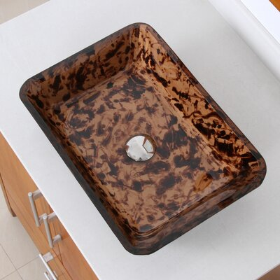 Abstract Tortoiseshell Hand Painted Flat Bottom Rectangular Vessel Bathroom Sink Drain Finish: Chrome