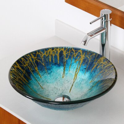 Enchantment Glass Circular Vessel Bathroom Sink Drain Finish: Chrome
