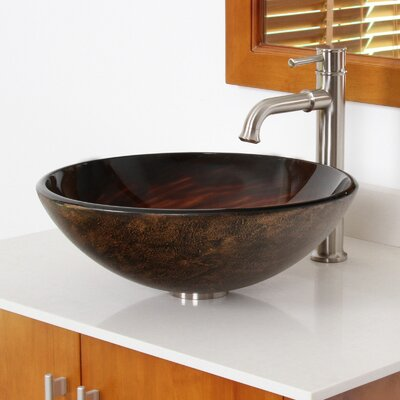 Whirlpool Hand Painted Bowl Circular Vessel Bathroom Sink Drain Finish: Brushed Nickel