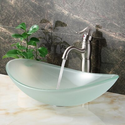 Double Layered Tempered Glass Boat U-Shaped Vessel Bathroom Sink Drain Finish: Brushed Nickel