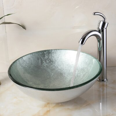 Hand Painted Foil Round Bowl Circular Vessel Bathroom Sink Drain Finish: Chrome