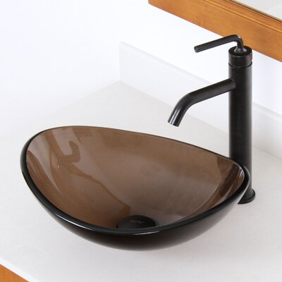 Tempered Glass Oval Vessel Bathroom Sink Drain Finish: Oil Rubbed Bronze