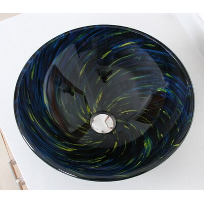 Whirlpool Meteor Shower Hand Painted Bowl Circular Vessel Bathroom Sink Drain Finish: Chrome