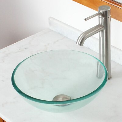 Tempered Glass Round Bow Circularl Vessel Bathroom Sink