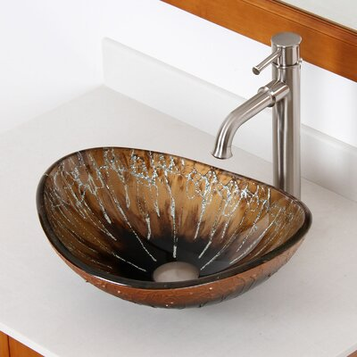 Hand Painted Boat Oval Vessel Bathroom Sink Drain Finish: Brushed Nickel