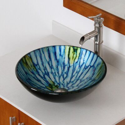 Double Layered Glass Bowl Circular Vessel Bathroom Sink Drain Finish: Brushed Nickel