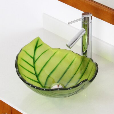 Hot Melted and Hand Painted Spring Leaf Transparent Bowl Glass Specialty Vessel Bathroom Sink Drain Finish: Chrome