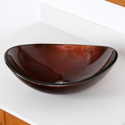 Hand Painted Foil Boat Shaped Oval Vessel Bathroom Sink Sink Finish: Dark Bronze