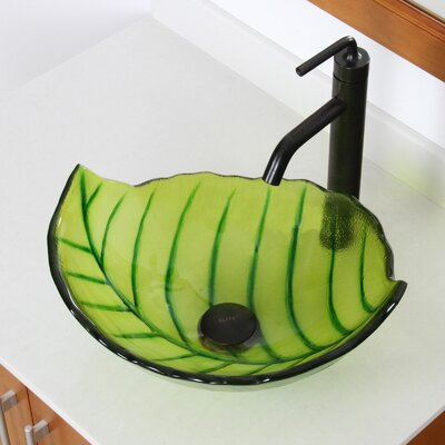 Hot Melted and Hand Painted Spring Leaf Transparent Bowl Specialty Vessel Bathroom Sink Drain Finish: Oil Rubbed Bronze