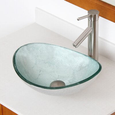Hand Painted Foil Boat Oval Vessel Bathroom Sink Sink Finish: Silver