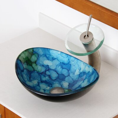 Hand Painted Watercolor Boat Oval Vessel Bathroom Sink Drain Finish: Brushed Nickel