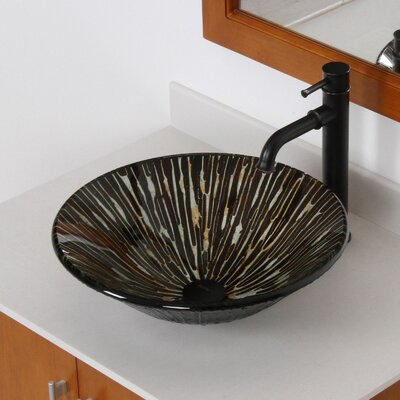 Contrasting Trickles Hand Painted Fanfare Rim Bowl Circular Vessel Bathroom Sink Drain Finish: Oil Rubbed Bronze