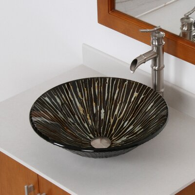 Contrasting Trickles Hand Painted Fanfare Rim Bowl Circular Vessel Bathroom Sink Drain Finish: Brushed Nickel