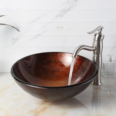 Neutral Handcrafted Glass Bowl Circular Vessel Bathroom Sink Drain Finish: Brushed Nickel