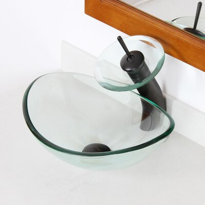 Mini Tempered Glass Oval Vessel Bathroom Sink Sink Finish: Clear, Drain Finish: Oil Rubbed Bronze
